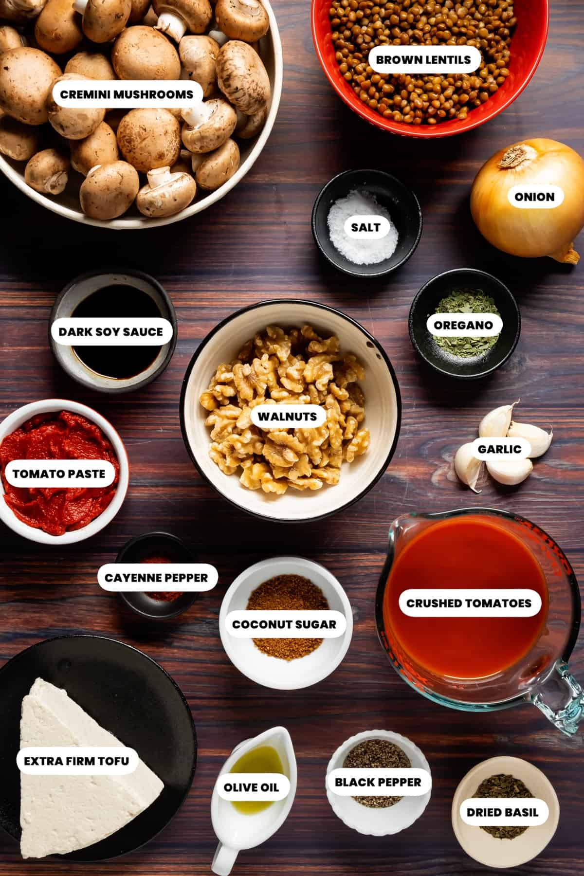 Photo of the ingredients needed to make vegan bolognese.