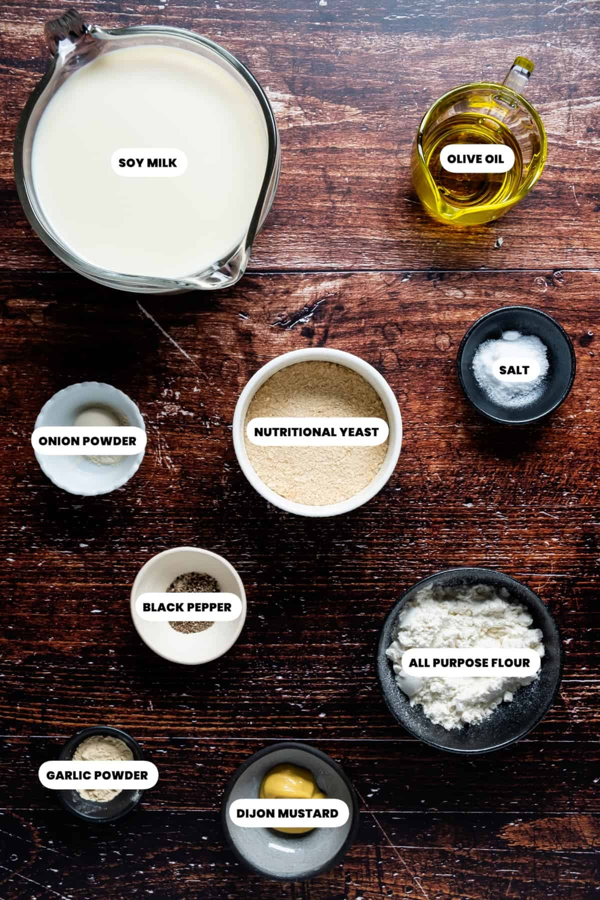 Ingredients needed to make vegan cheese sauce for cannelloni.