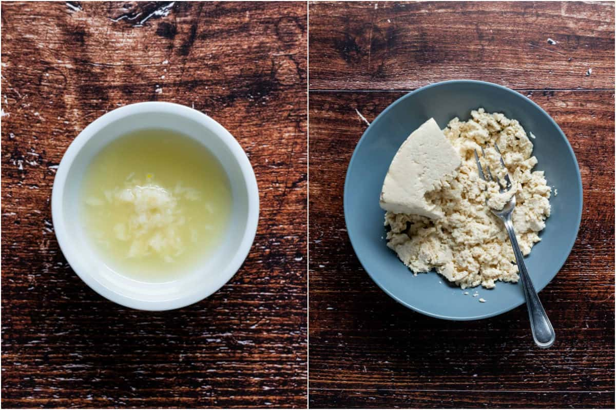 Two photo collage showing fresh garlic soaking in lemon juice and tofu being mashed with a fork.
