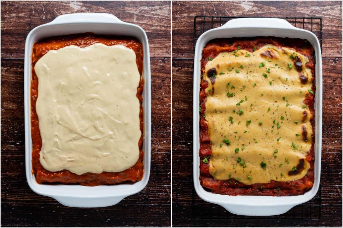 Two photo collage showing cheese sauce on top of marinara sauce and cannelloni and then baked and topped with fresh chopped parsley.