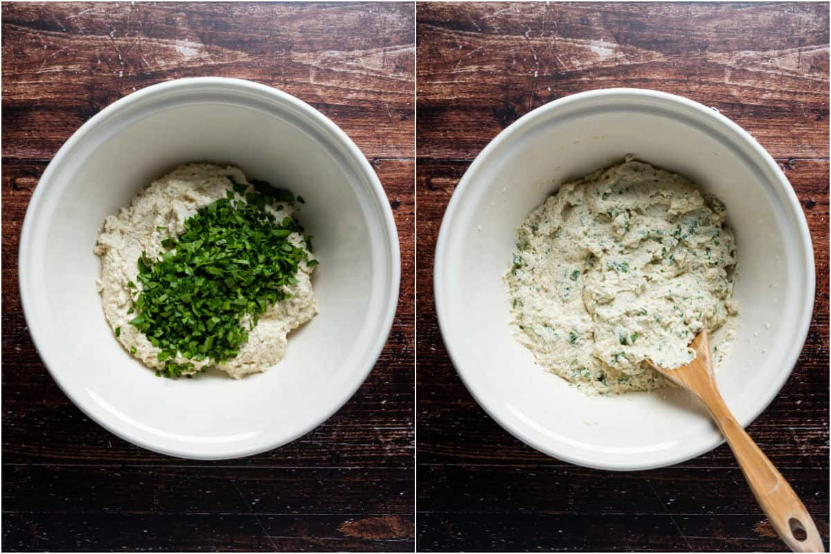 Two photo collage showing tofu ricotta added to mixing bowl with chopped baby spinach and mixed in.