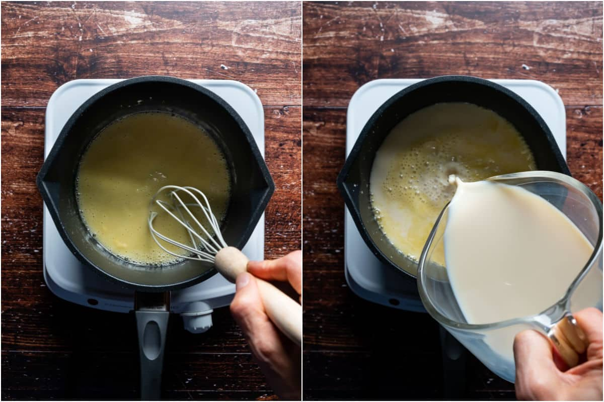 Two photo collage showing oil and flour whisked together and then soy milk added.