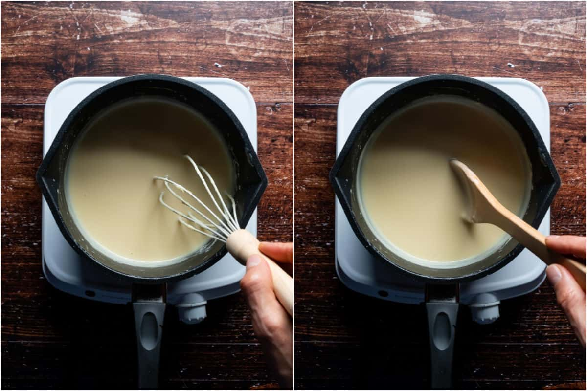 Two photo collage showing cheese sauce being whisked and stirred until thickened.