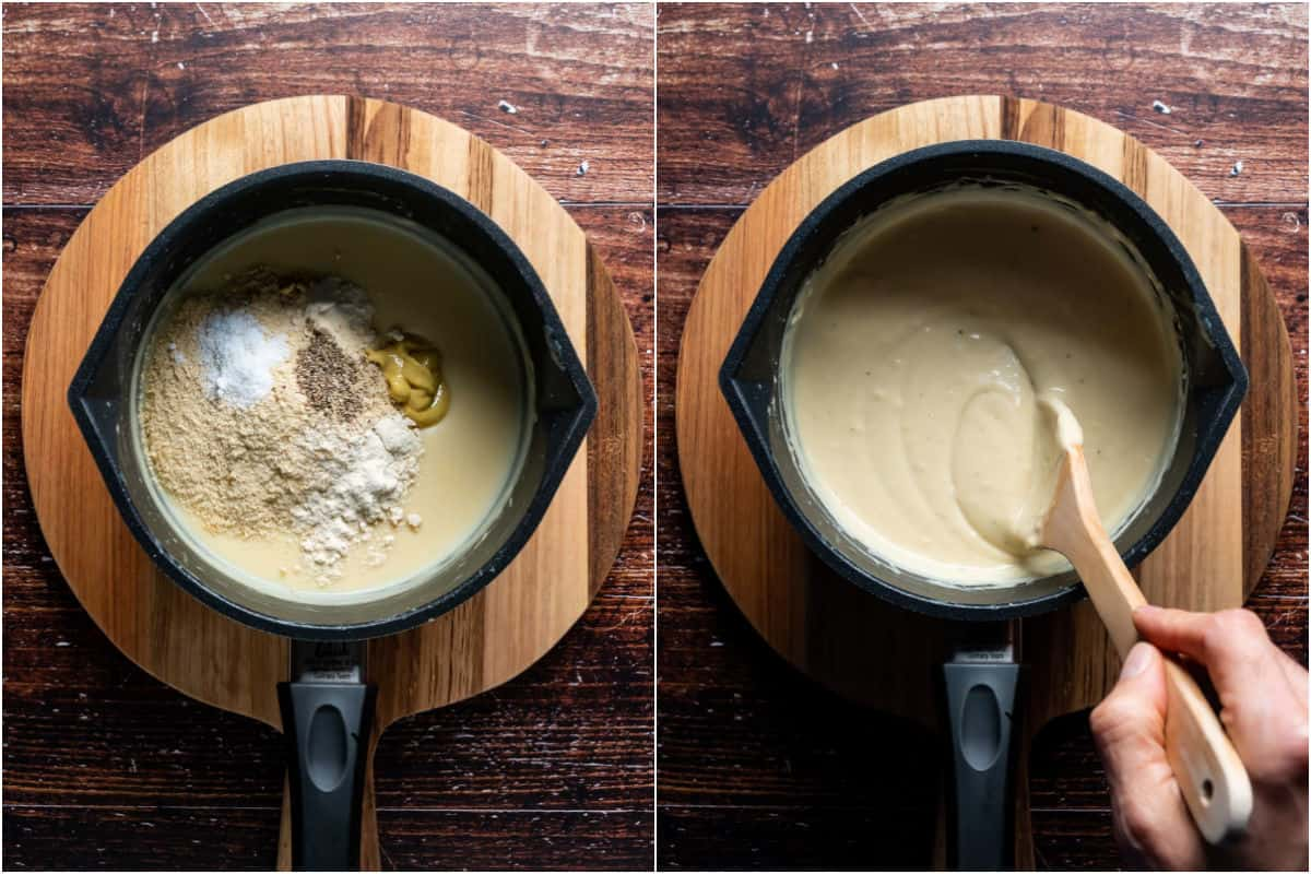 Two photo collage showing nutritional yeast and spices added to cheese sauce and mixed in.
