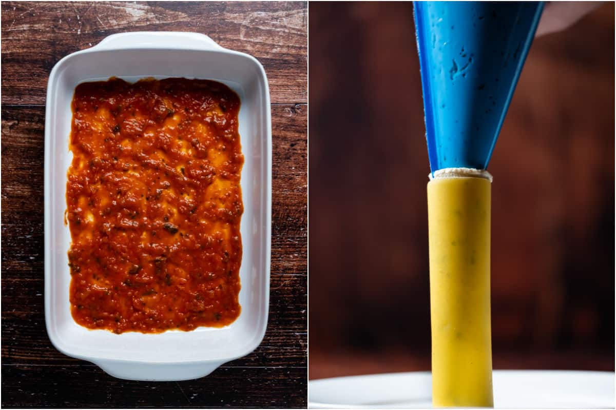 Two photo collage showing a layer of marinara sauce on the bottom of a white baking dish and piping tofu ricotta into tubes of cannelloni