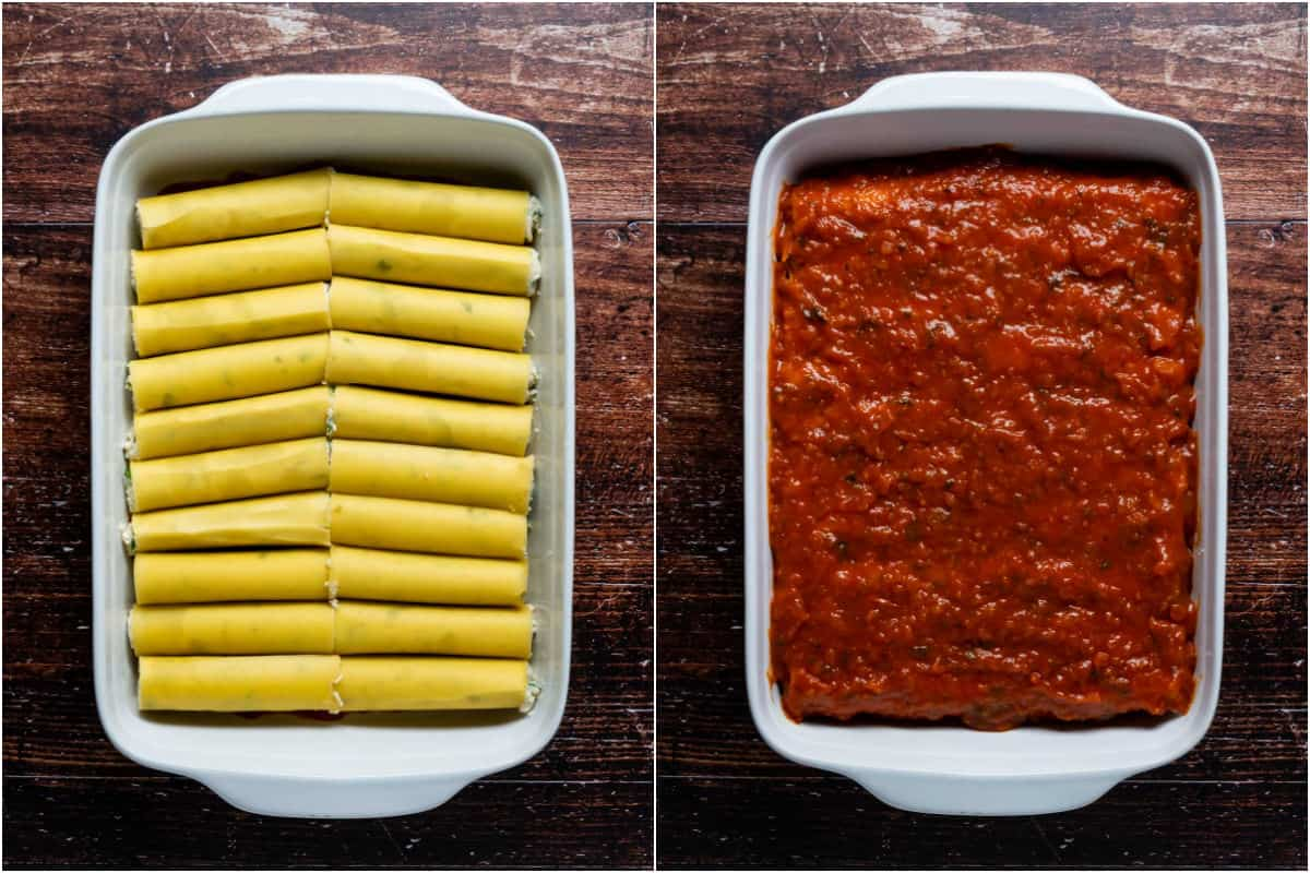 Two photo collage showing stuffed cannelloni tubes packed into baking dish and then topped with marinara sauce.