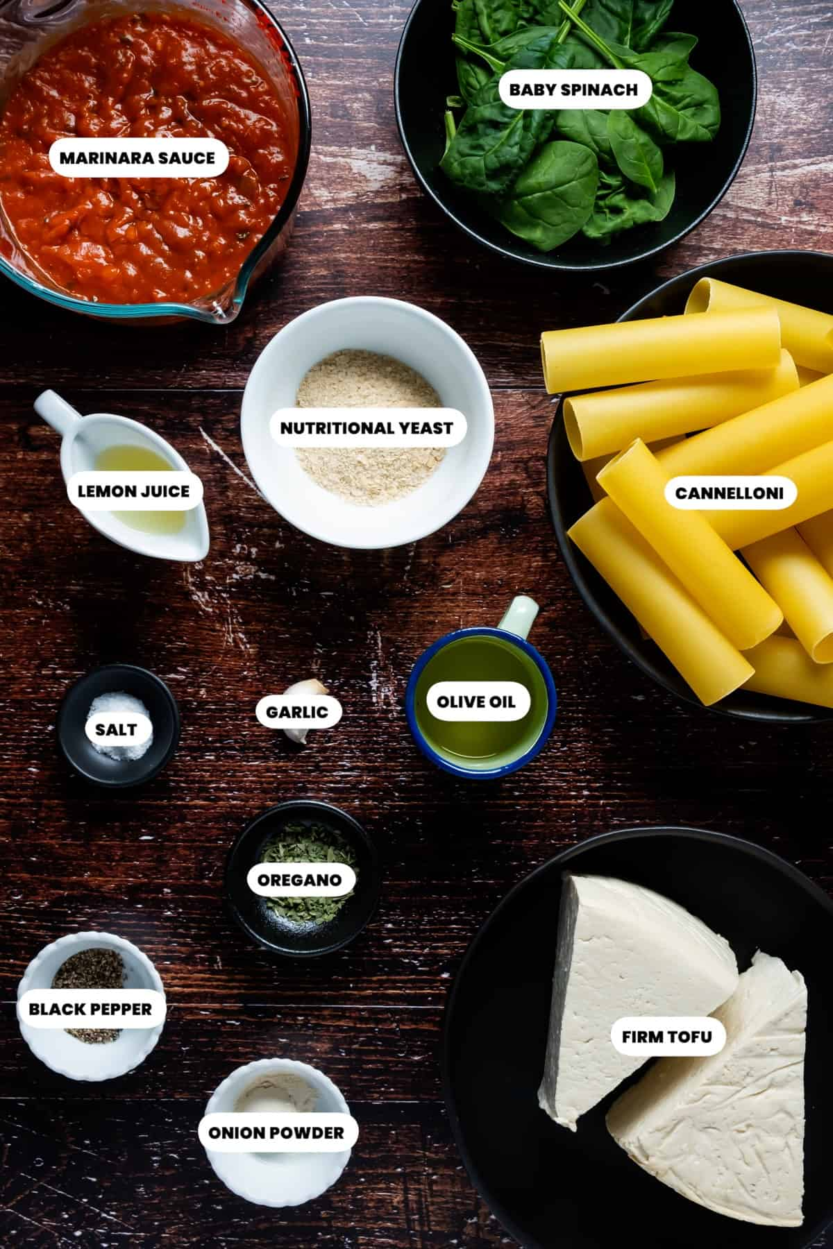 Photo of the ingredients needed to make vegan cannelloni.