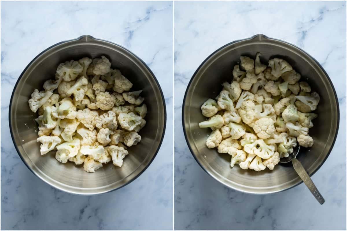 Two photo collage showing cauliflower florets, olive oil and salt and pepper added to mixing bowl and tossed together.