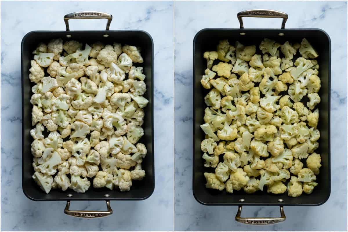 Two photo collage showing cauliflower florets added to roasting pan and roasted.