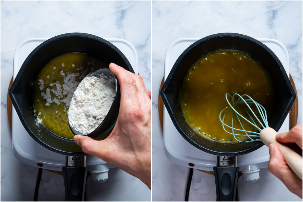 Two photo collage showing flour added to melted vegan butter in a saucepan and whisked together.