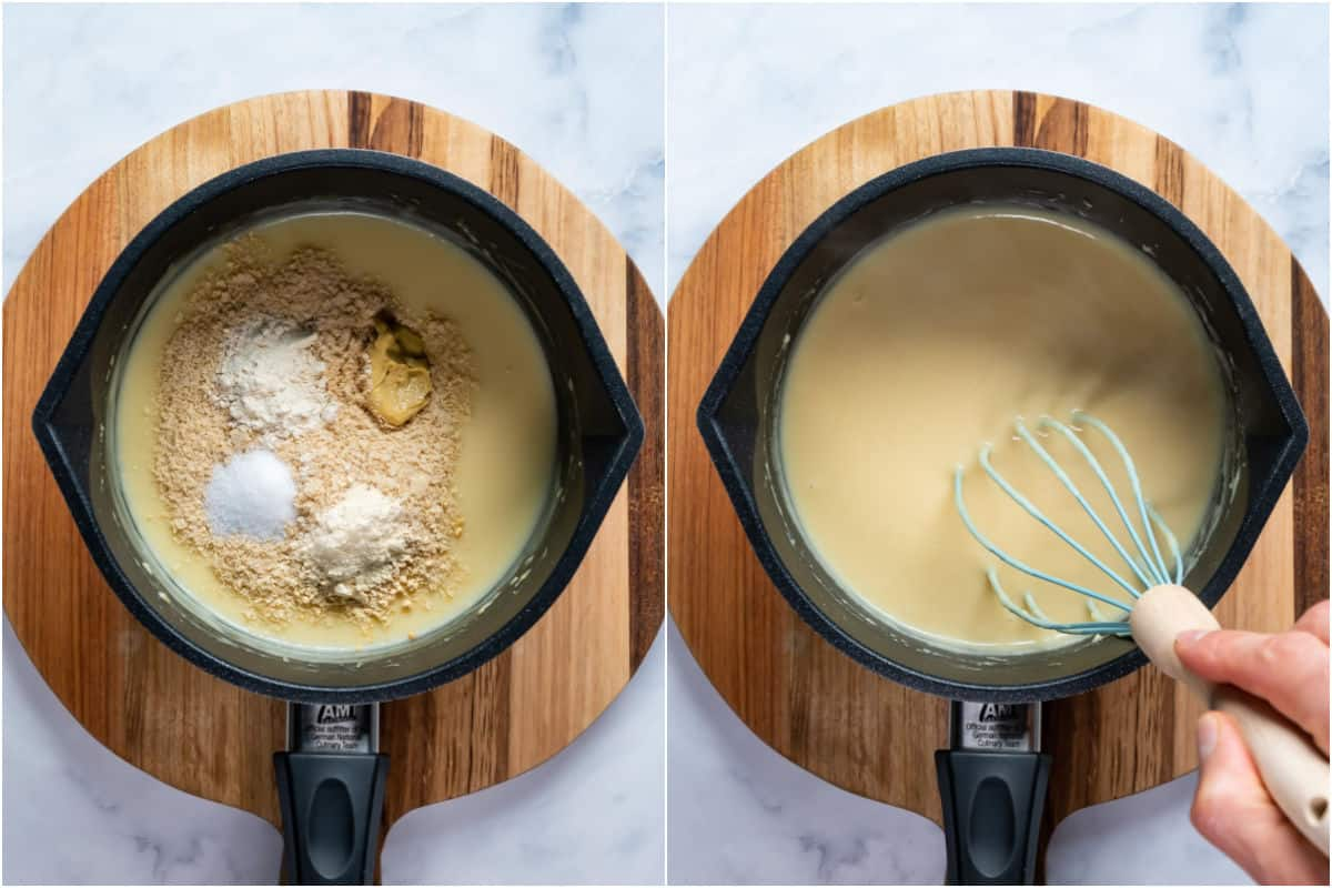 Two photo collage showing spices added to sauce and whisked in.