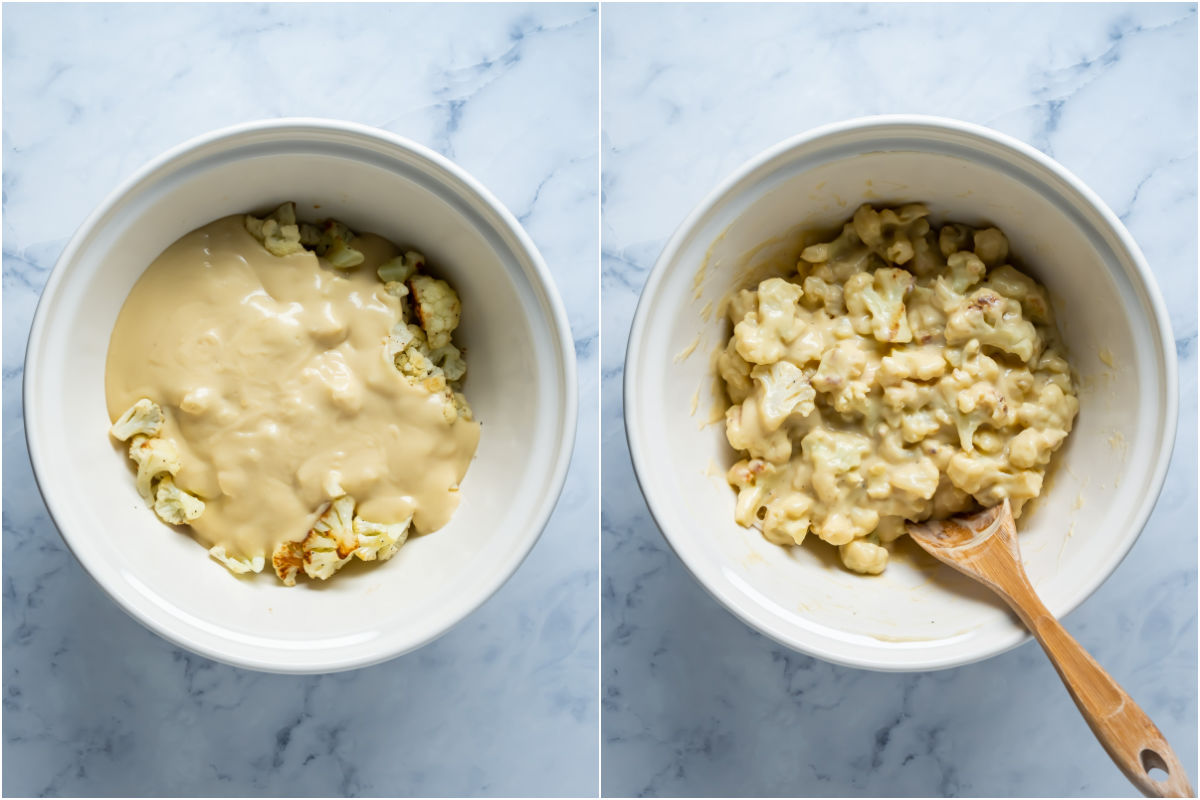 Two photo collage showing roasted cauliflower and sauce added to mixing bowl and tossed together.