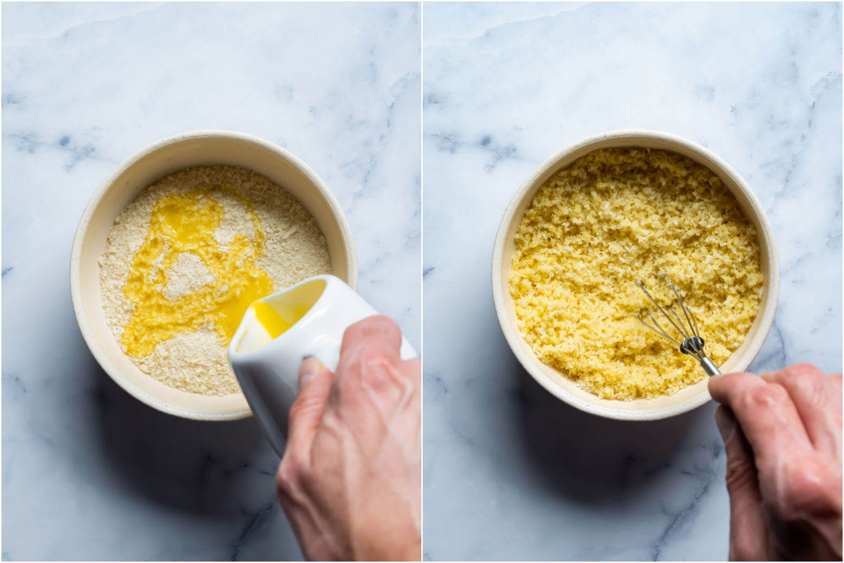 Two photo collage showing breadcrumbs added to bowl and tossed with melted vegan butter.