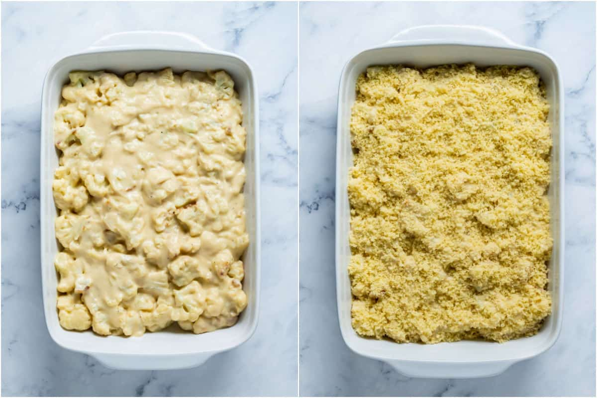 Two photo collage showing cauliflower and sauce added to white baking dish and then topped with breadcrumbs.