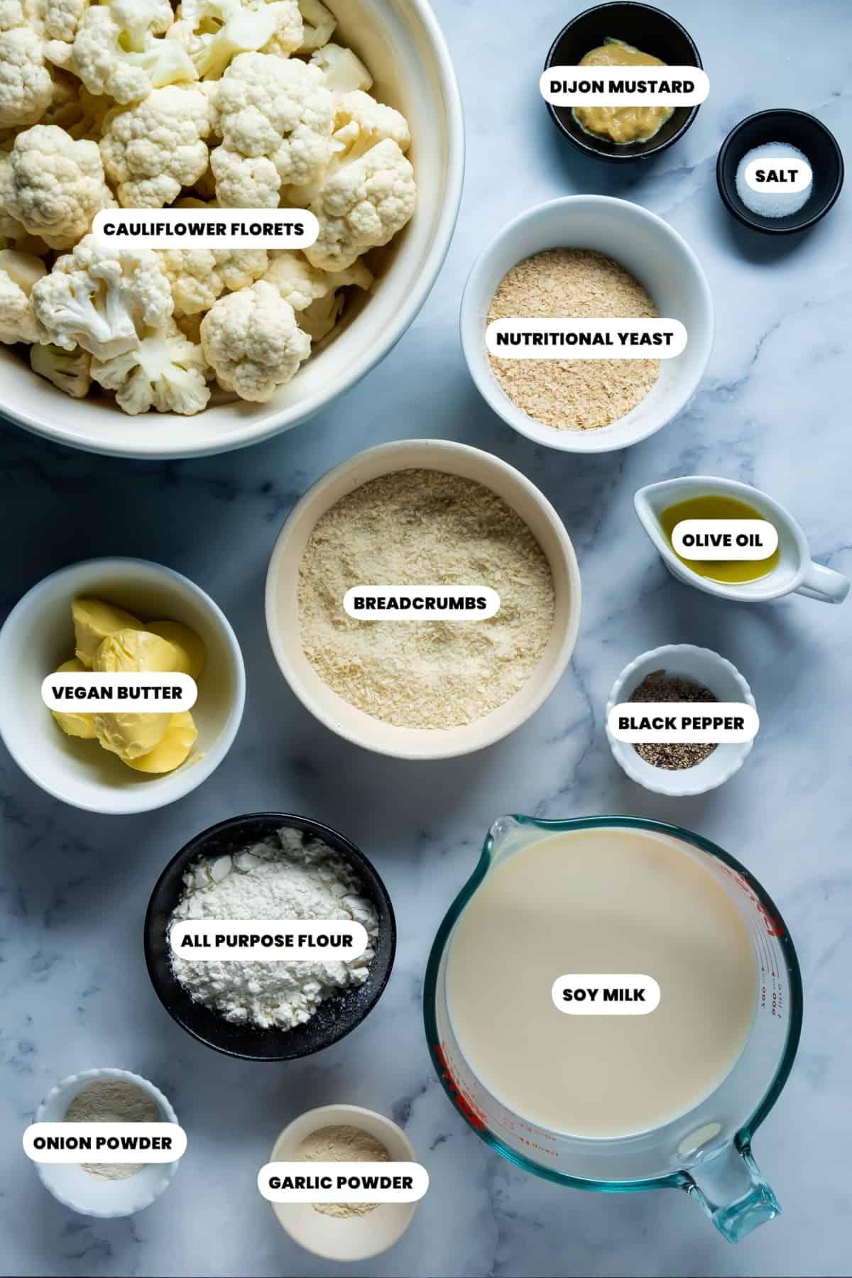 Photo of the ingredients needed to make vegan cauliflower cheese.