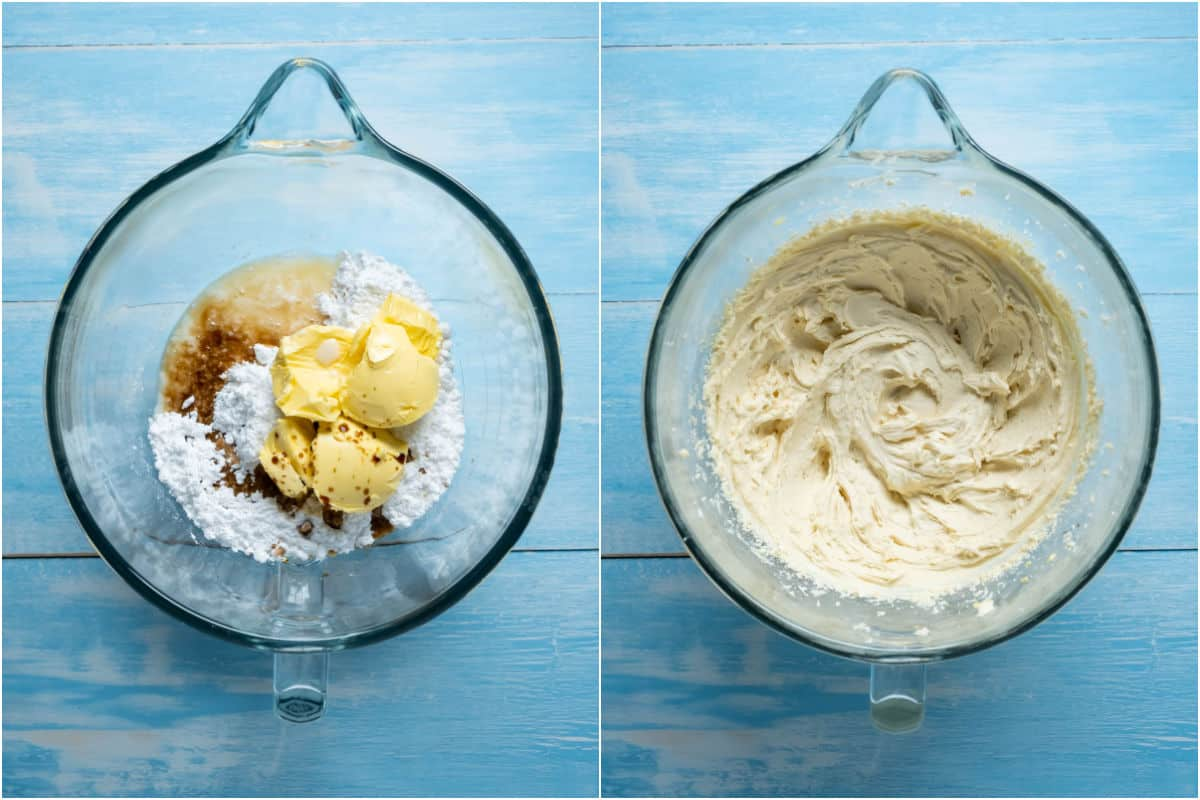 Two photo collage showing ingredients for frosting added to stand mixer and mixed together.