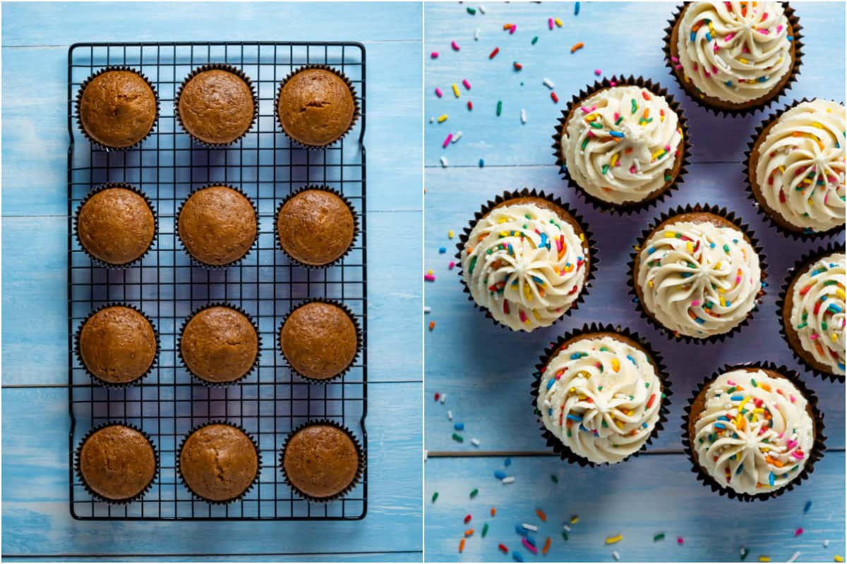 Two photo collage showing unfrosted cupcakes on a wire cooling rack and then the frosted and decorated cupcakes.