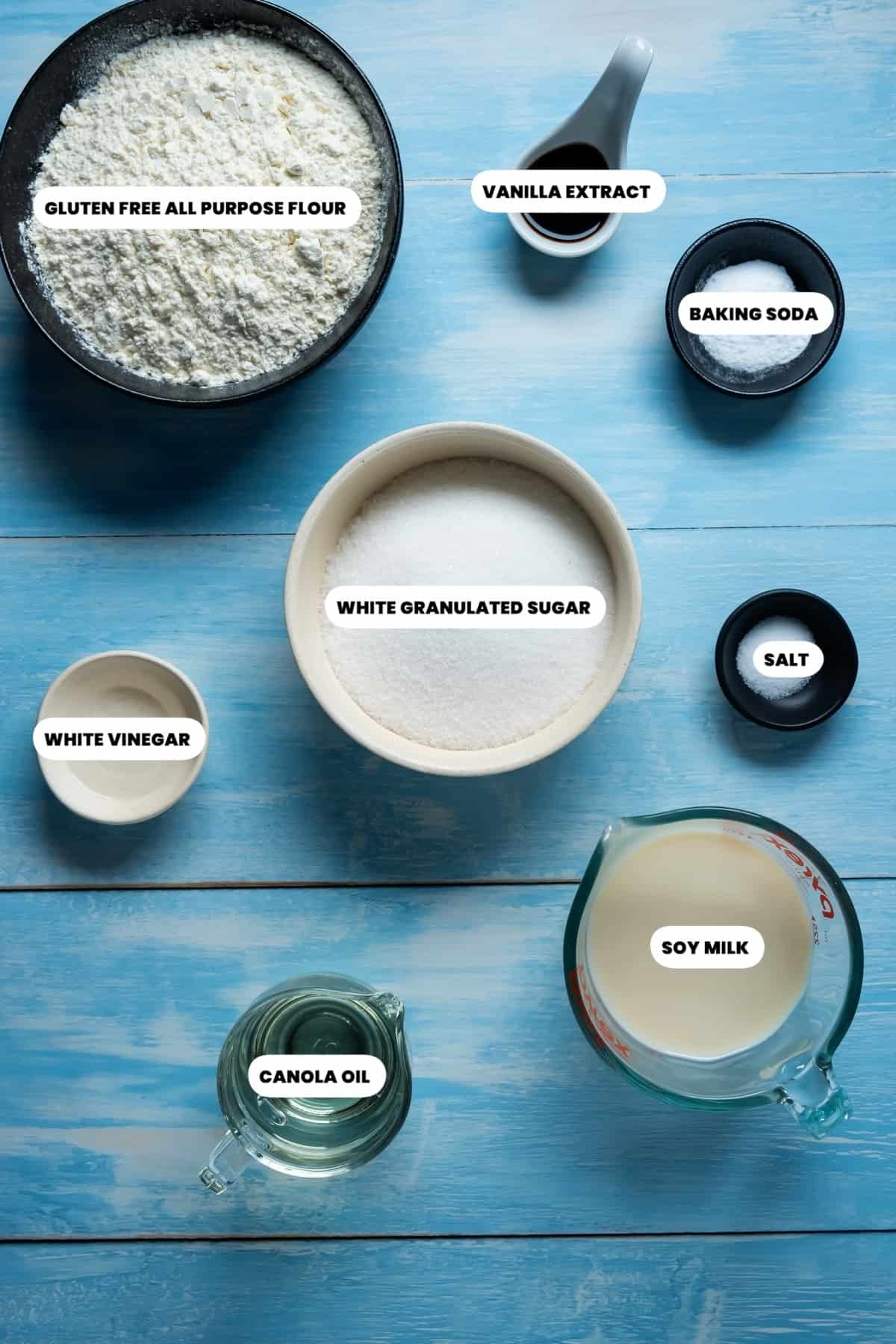 Photo of the ingredients needed to make vegan gluten free vanilla cupcakes.