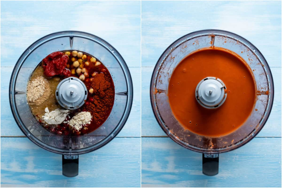 Two photo collage showing ingredients added to food processor and processed together.