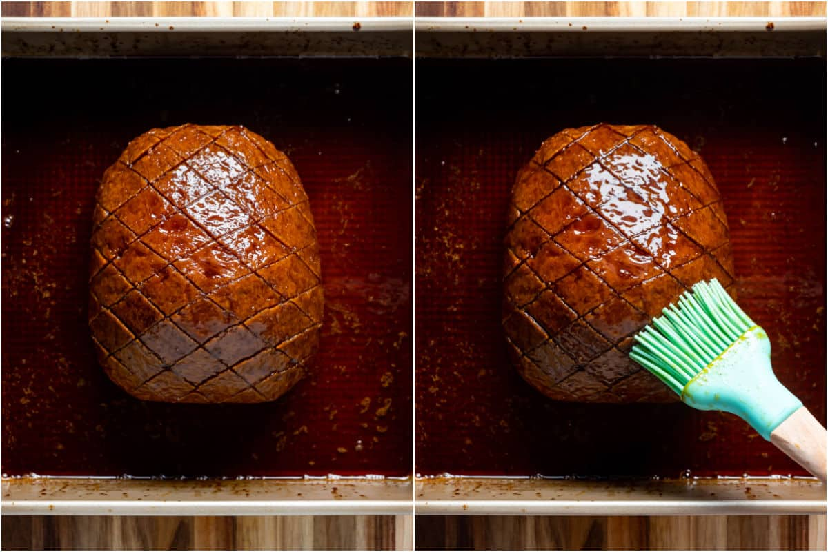 Two photo collage showing roasted ham and then extra glaze being brushed into the top.