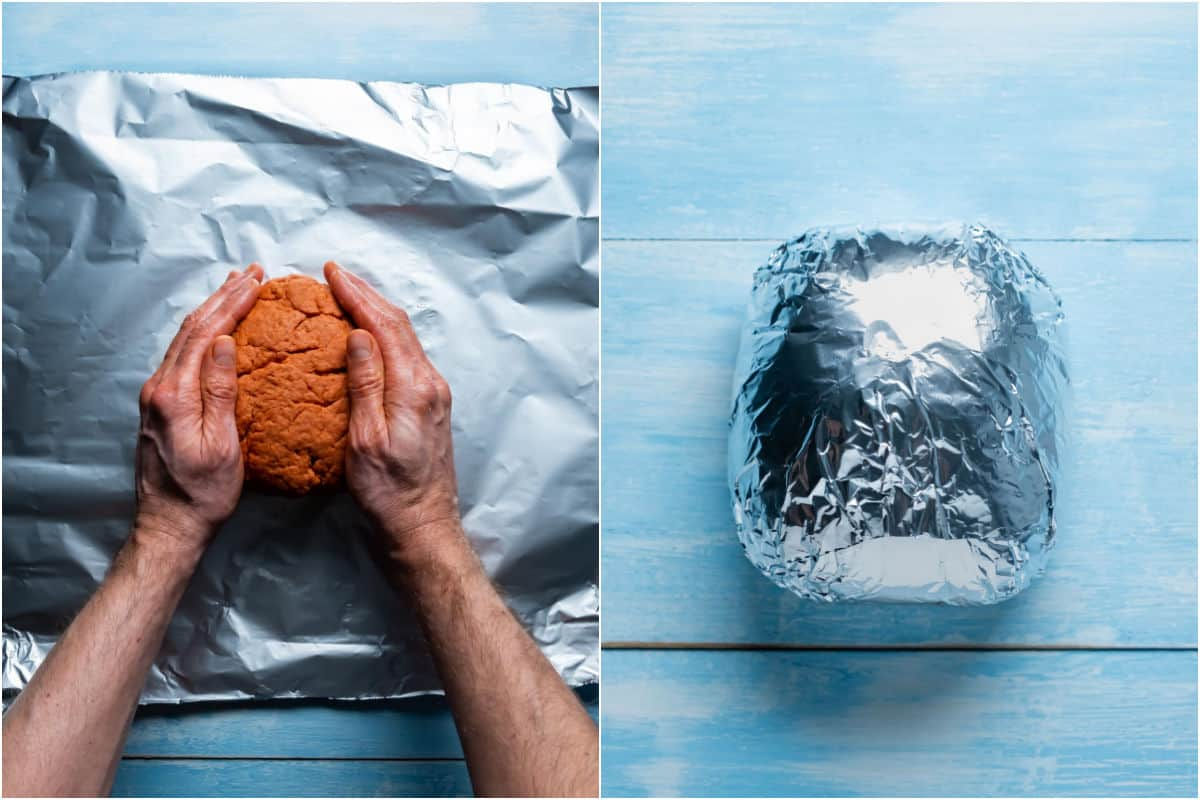 Two photo collage showing forming the dough into a ham shape and wrapping in foil.
