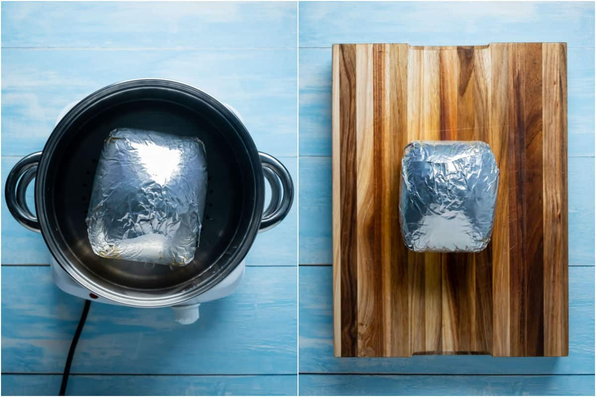 Two photo collage showing ham wrapped in foil in the steamer and then cooling on a wooden board.