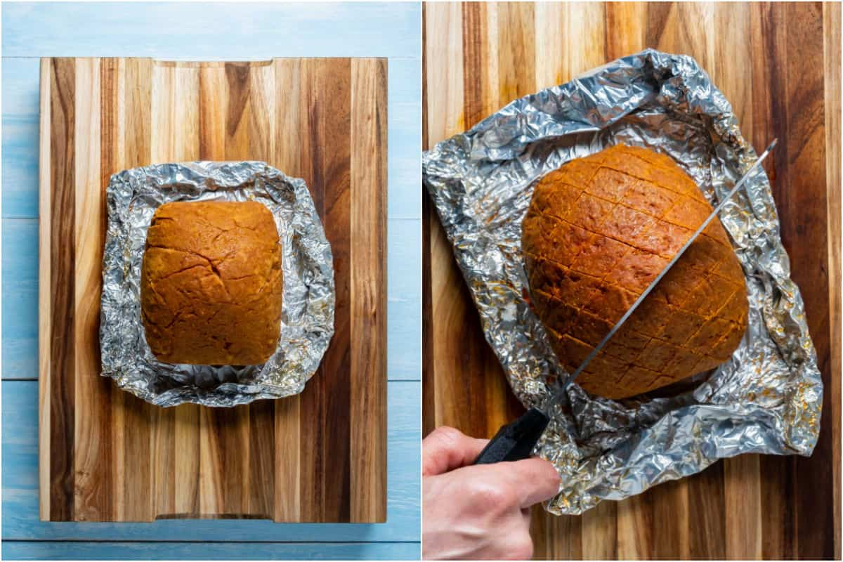 Two photo collage showing unwrapping the ham from the foil and then cutting criss cross shapes into it.