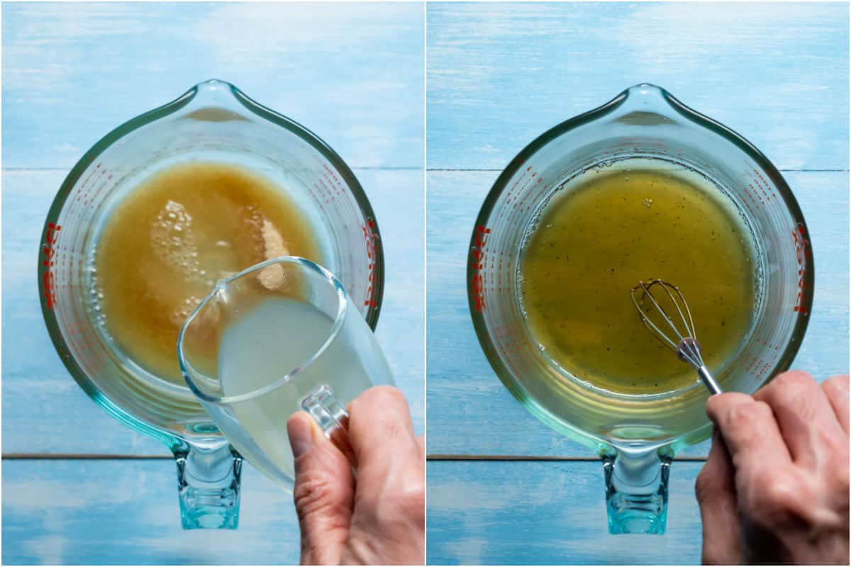 Two photo collage showing brown sugar and veg stock added to jug and whisked together.