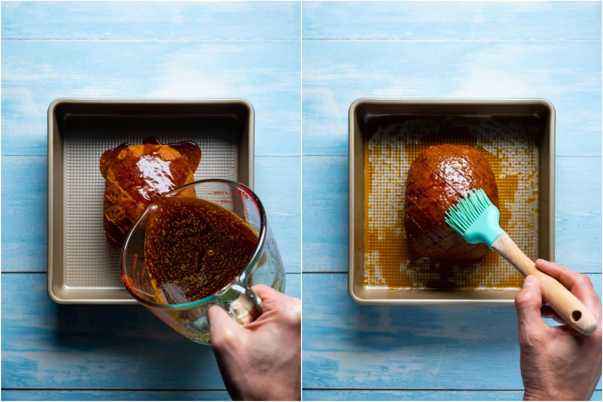 Two photo collage showing glaze pouring over ham in a baking dish and brushed into the top.