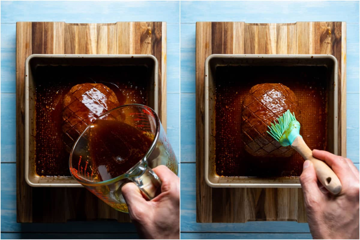 Two photo collage showing the baked ham with more glaze pouring over the top and then being brushed in.