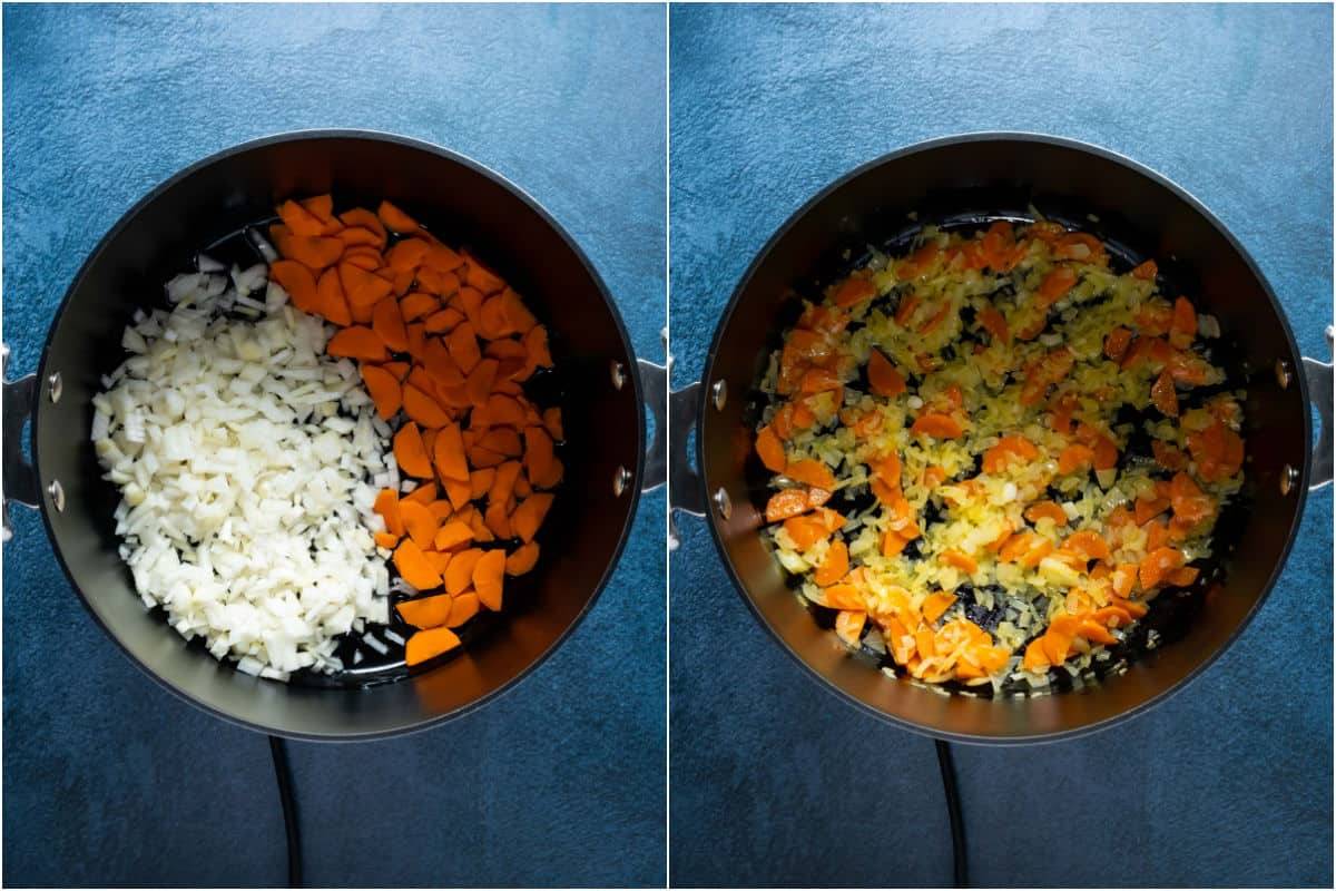 Two photo collage showing chopped onions and carrots added to pot and sautéed.