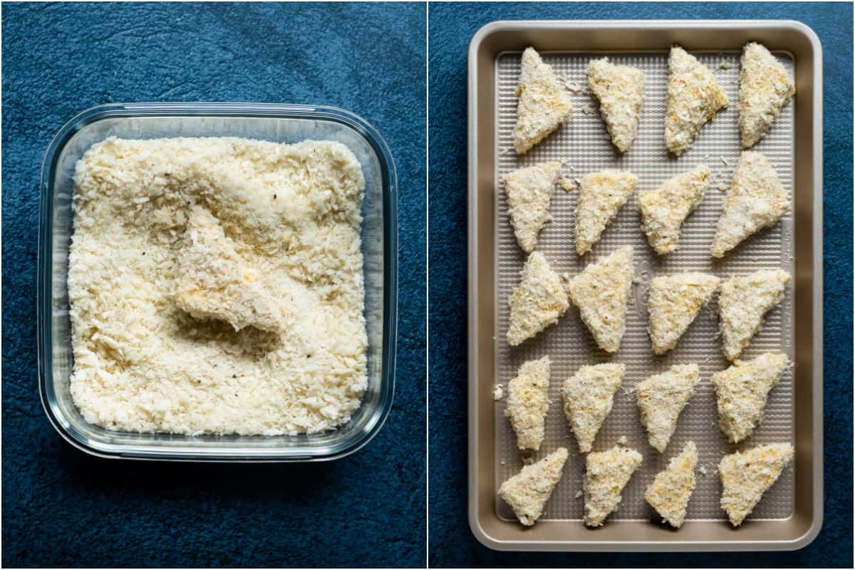 Two photo collage showing tofu dipped in breadcrumbs and then placed onto a tray.