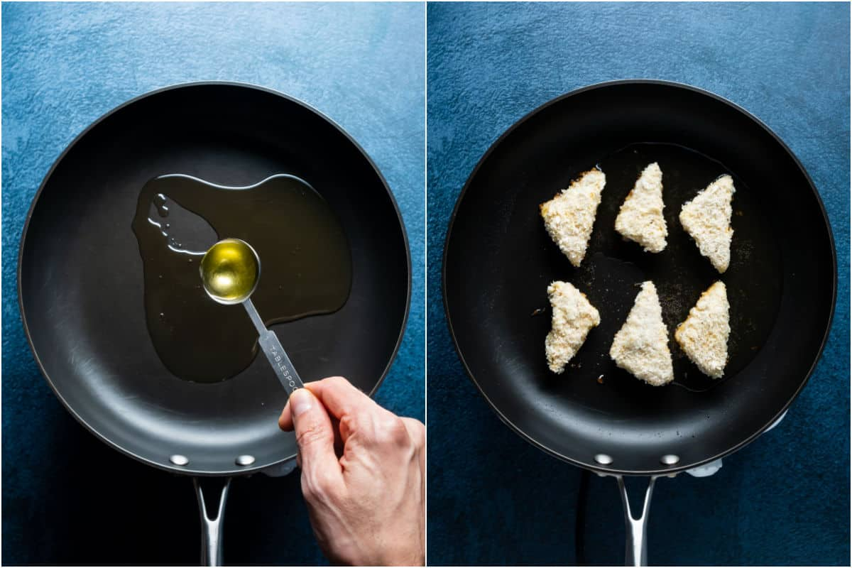 Two photo collage showing oil added to pan and heated and then tofu pieces added to the hot pan.