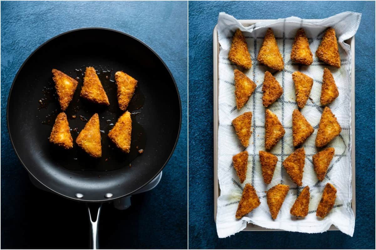 Two photo collage showing browned tofu in the frying pan and then the fried tofu pieces on a tray lined with paper towels.