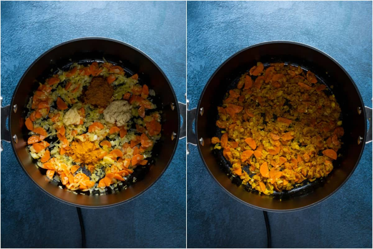Collage of two photos showing crushed garlic and spices added to pot and sautéed.