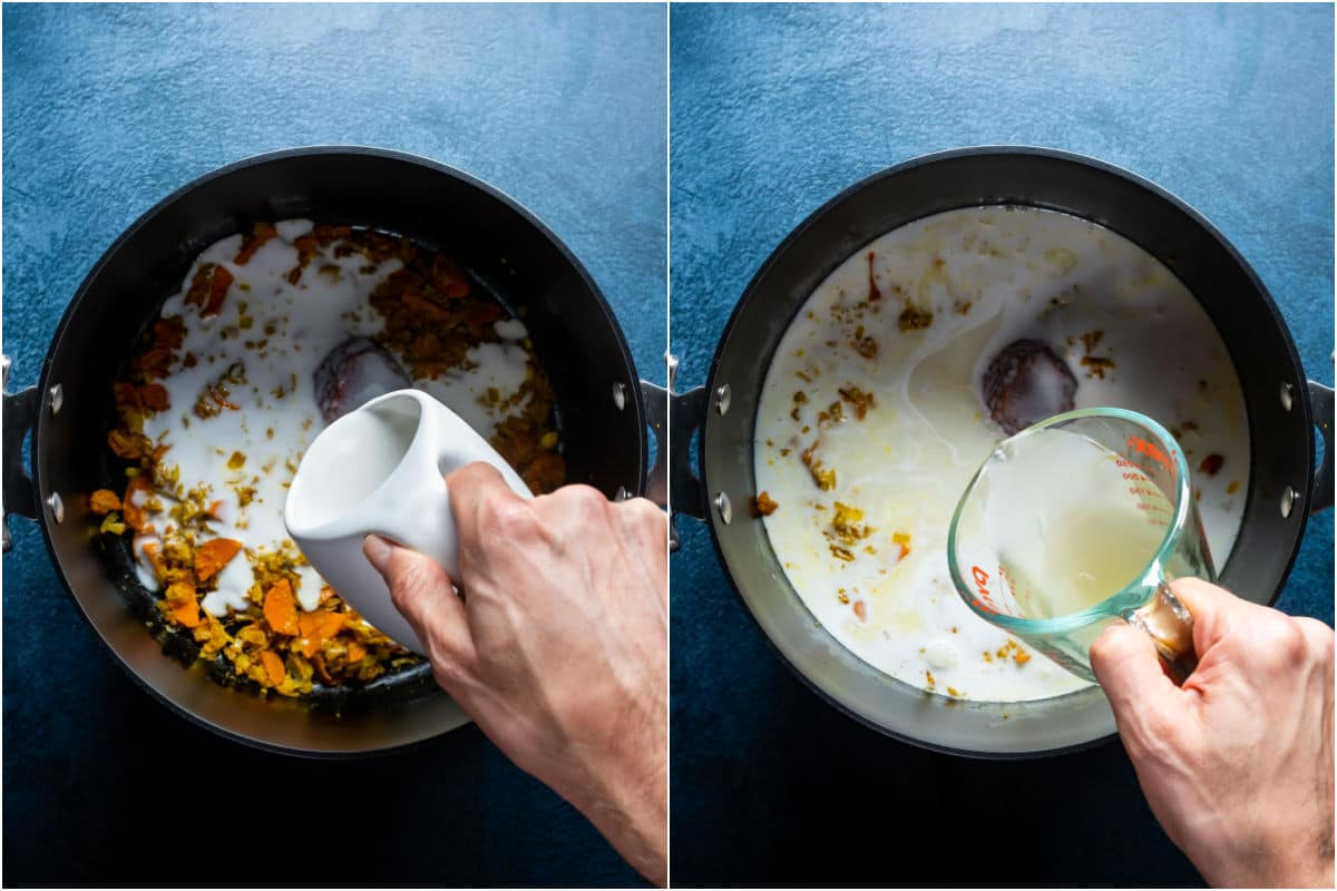 Two photo collage showing tomato paste, coconut milk, vegetable stock and coconut sugar added to pot.