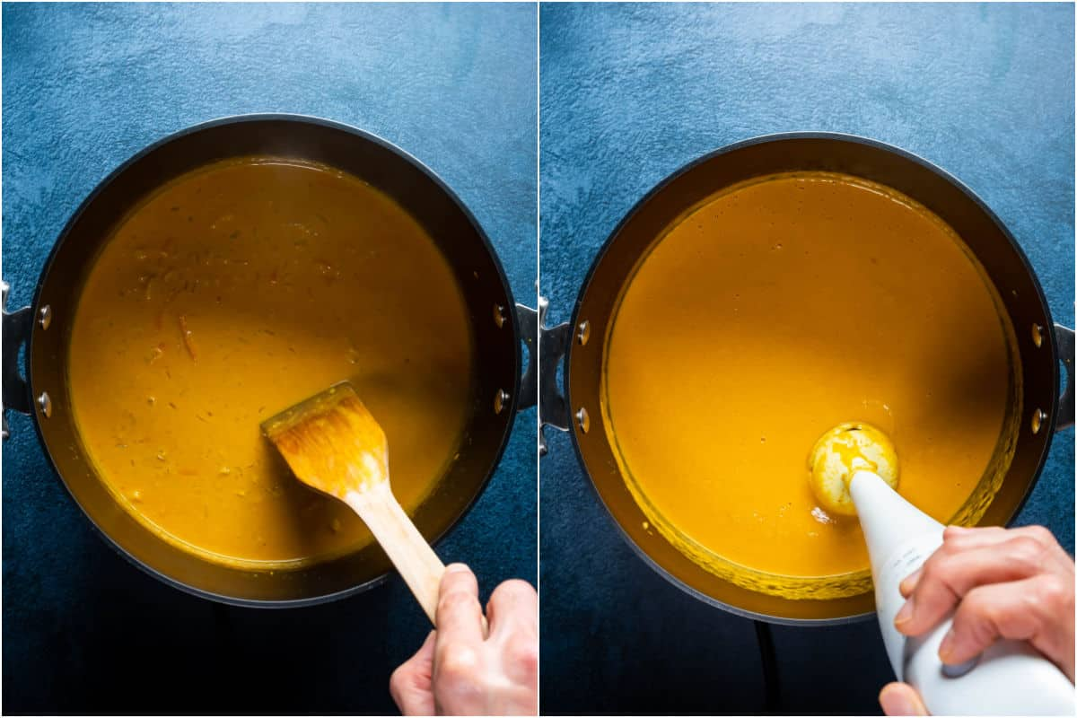 Two photo collage showing sauce being stirred in the pot and then immersion blended.