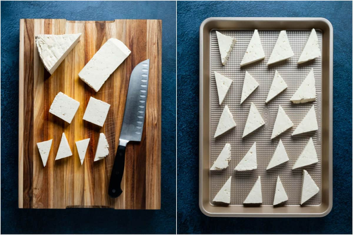 Two photo collage showing tofu cut into pieces and placed onto a tray.