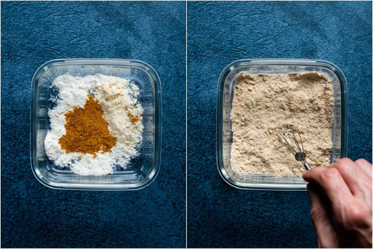 Two photo collage showing flour and spices added to bowl and mixed together.