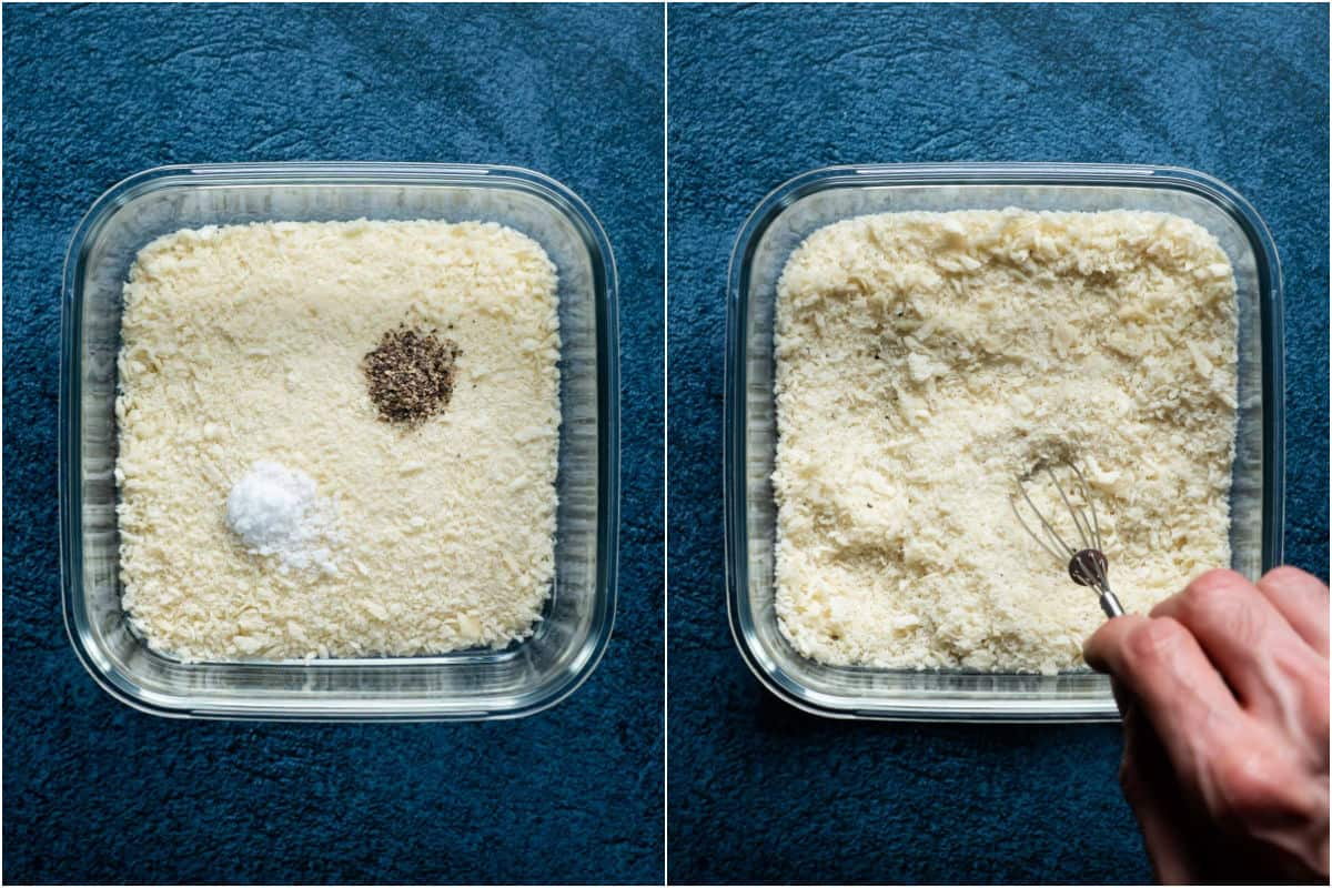 Two photo collage showing panko breadcrumbs and salt and pepper added to bowl and mixed together.