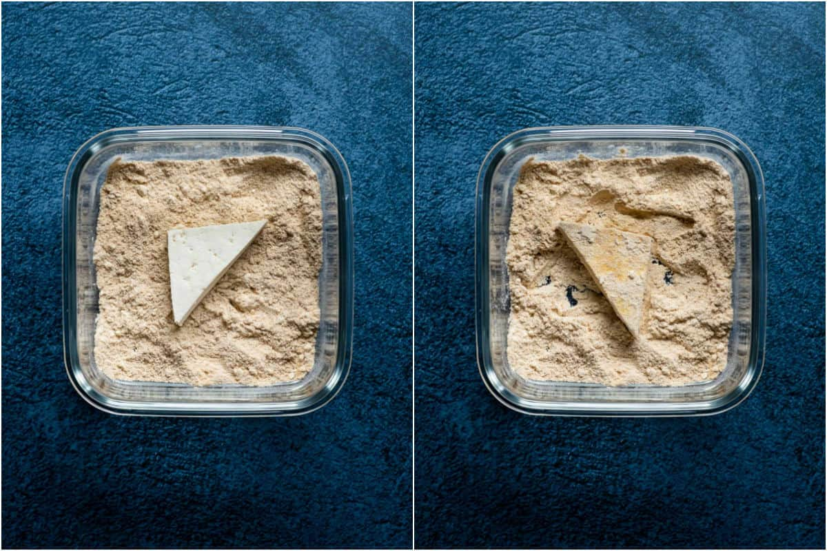 Two photo collage showing tofu dipped in flour mix on both sides.