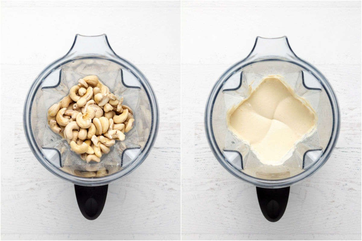 Two photo collage showing cashew nuts and other ingredients added to blender and blended.