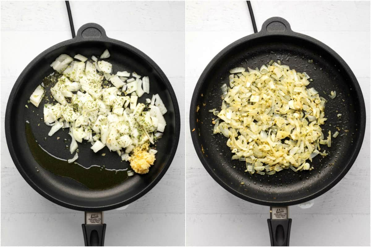 Two photo collage showing oil, onions, crushed garlic and oregano added to frying pan and sautéed.