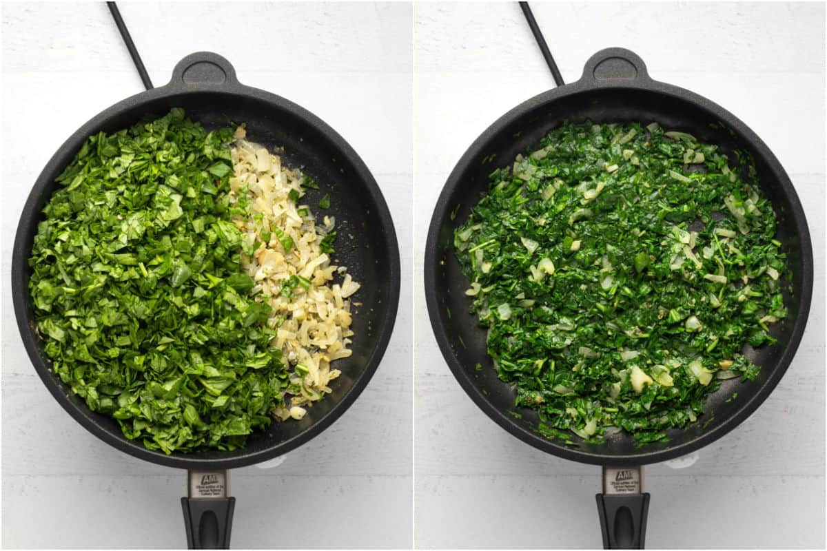 Two photo collage showing chopped spinach added to remaining onions in frying pan and sautéed.