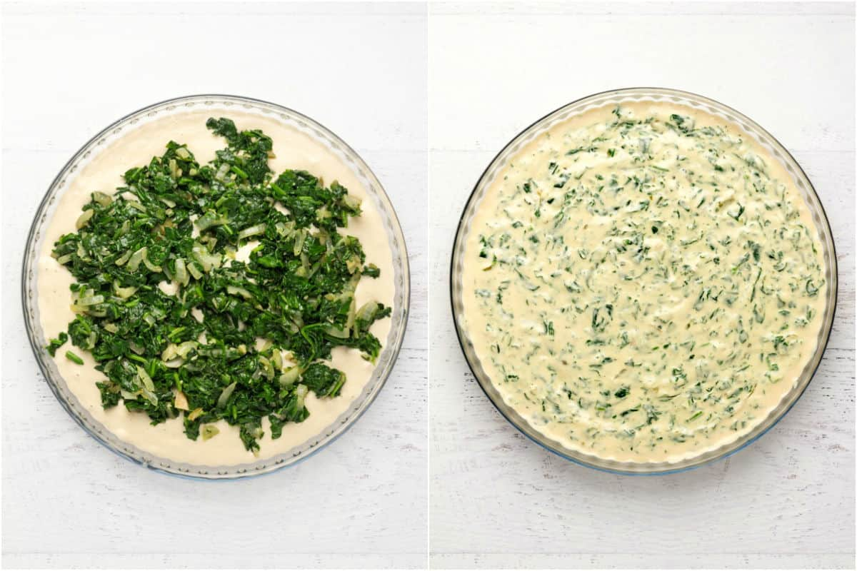Two photo collage showing vegan cream cheese mix and sautéed onions and spinach added to baking dish and mixed together.