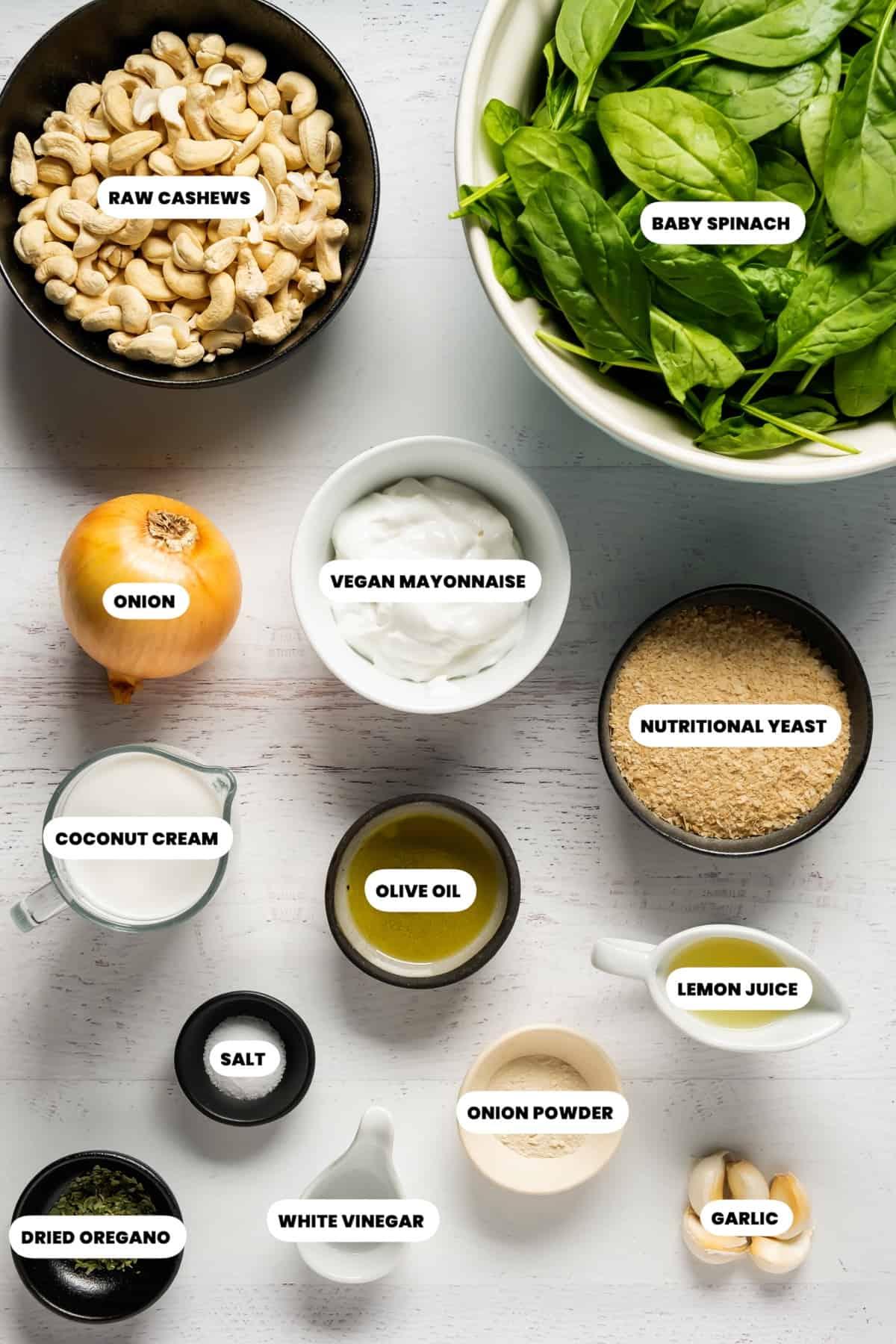 Ingredients to make vegan spinach dip
