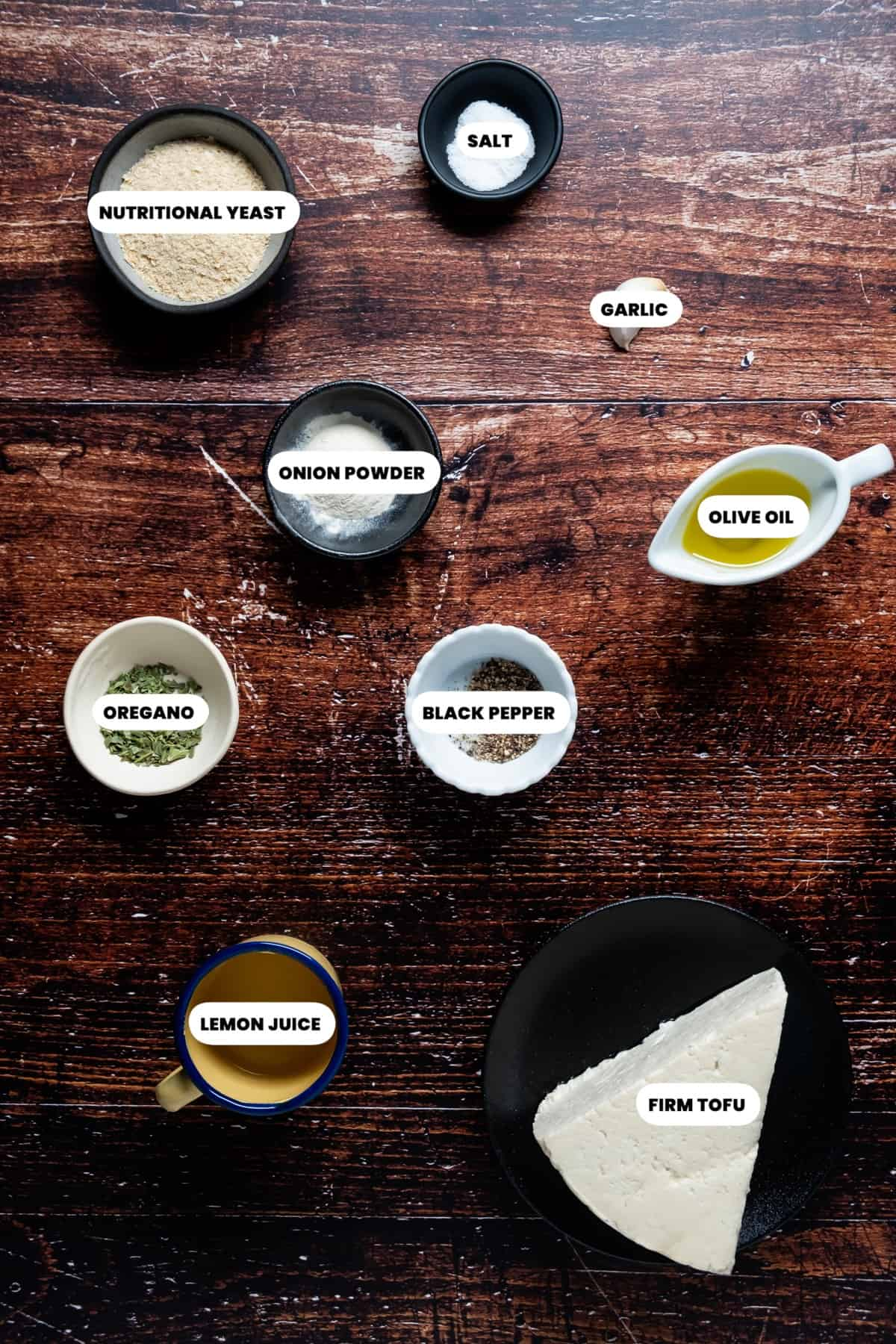 Photo of the ingredients needed to make tofu ricotta.