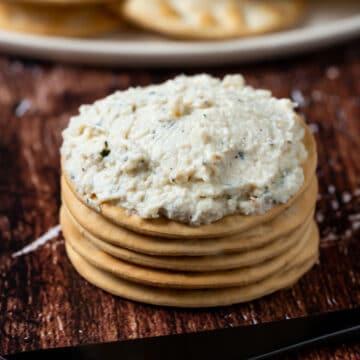 Tofu ricotta on crackers.