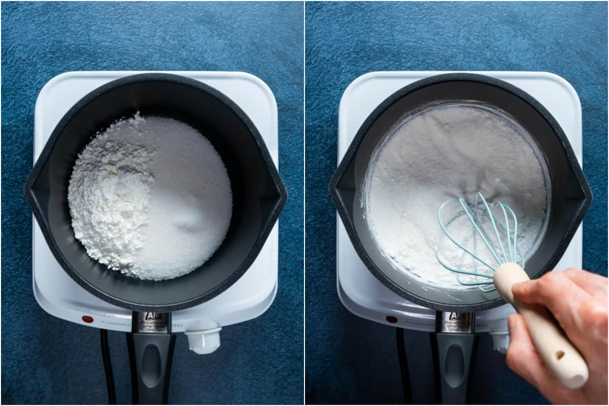 Two photo collage showing sugar, cornstarch and salt added to a saucepan and mixed together.