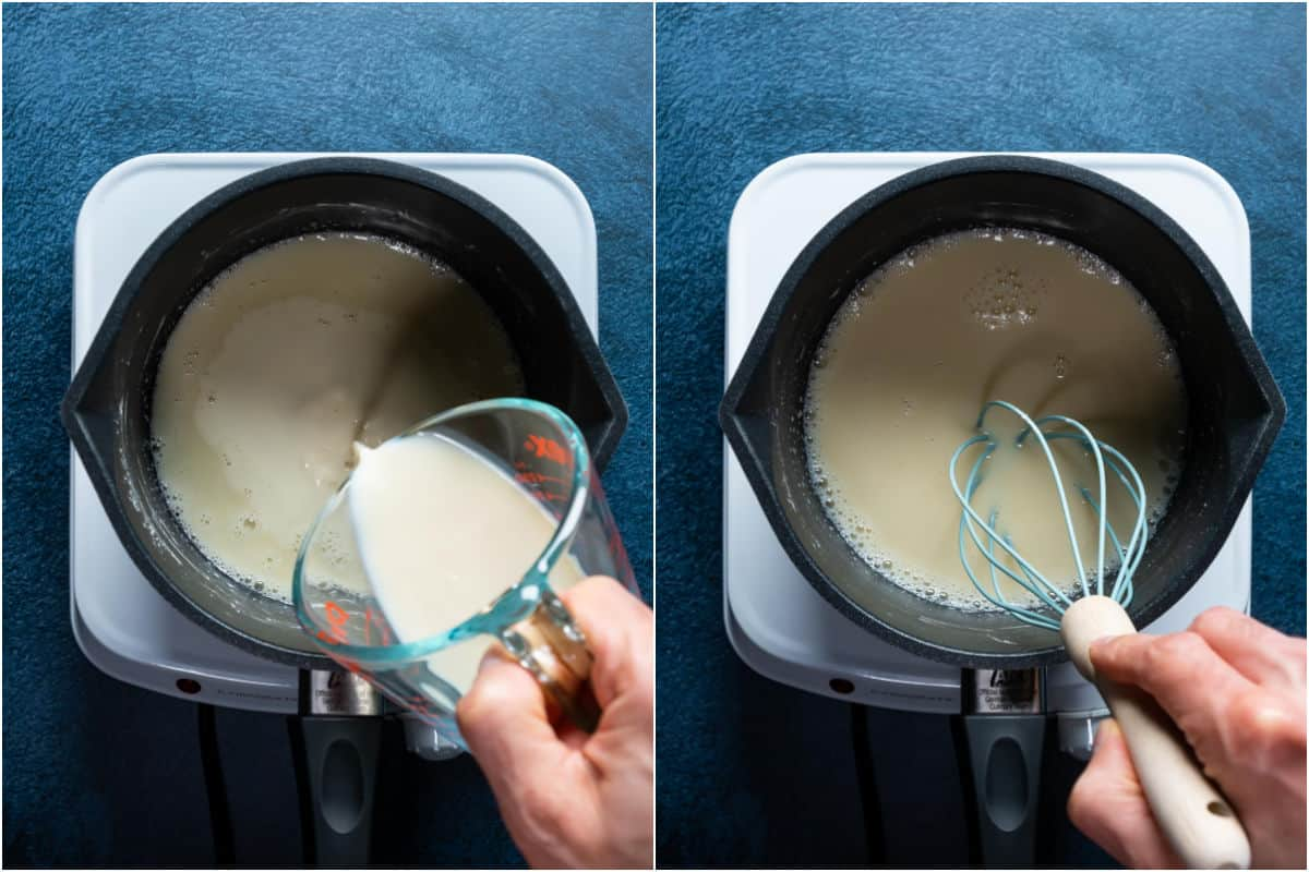 Two photo collage showing soy milk added to saucepan and whisked in.